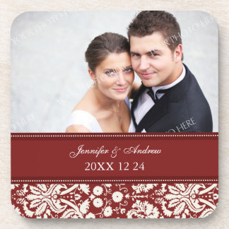 Wedding Favor Red Damask Photo Coasters