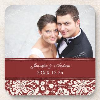 Wedding Favor Red Damask Photo Coasters