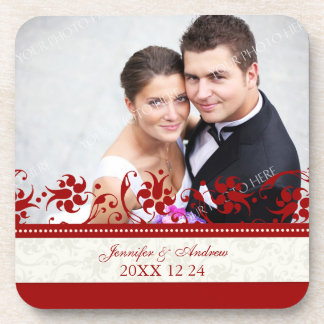Wedding Favor Red Floral Photo Coasters