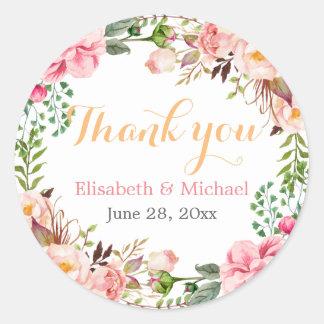 Wedding Favor Romantic Floral Decor Thank You Round Sticker