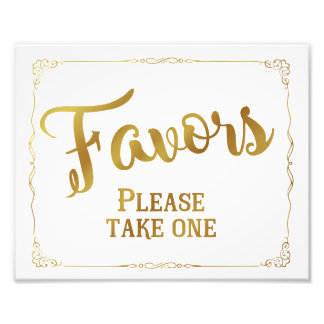 Wedding favor sign, party favor, gold, custom photographic print