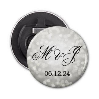 Wedding Favor Silver Glitter Lights Bottle Opener