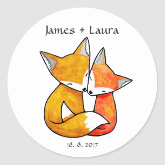 Wedding Favor Stickers Fox Couple Wedding Monogram