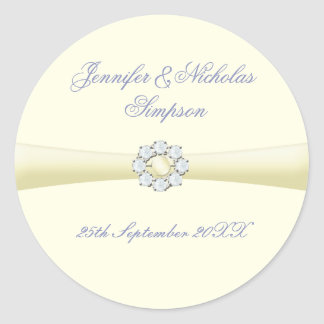 Wedding Favor Stickers Ivory with Pearl & Diamond