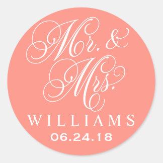 Wedding Favor Stickers   Mr. and Mrs. Monogram