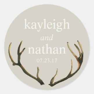 Wedding Favor Stickers Rustic Antlers Custom Names