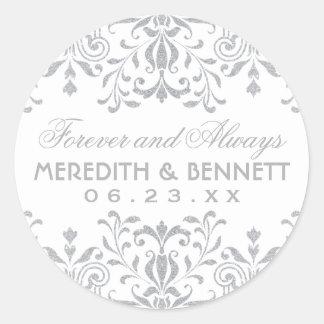Wedding Favor Stickers | Silver Vintage Glamour