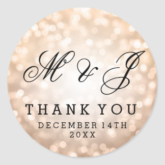 Wedding Favor Tag Copper Glitter Lights