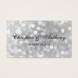 Wedding Favor Tag Elegant Silver Bokeh Lights