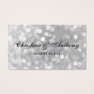Wedding Favor Tag Elegant Silver Bokeh Lights Business Card