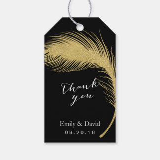 Wedding Favor Tag | Modern Gold Peacock Feather