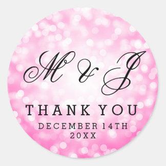 Wedding Favor Tag Pink Glitter Lights Round Sticker