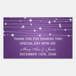 Wedding Favor Tag Sparkling Lines Purple Rectangular Sticker