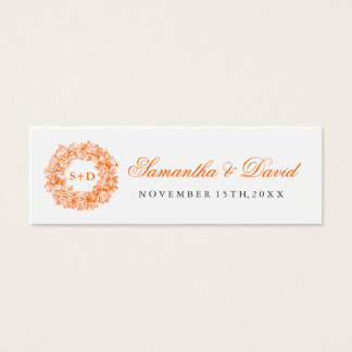 Wedding Favor Tag Vintage Floral Monogram Orange Mini Business Card
