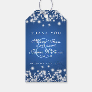 Wedding Favor Tag Winter Sparkle Blue