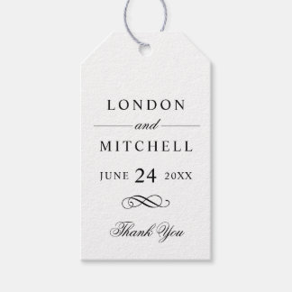Wedding Favor Tags | Black Classic Elegance