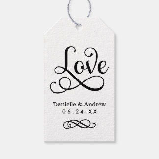 Wedding Favor Tags | Love Script Black and White
