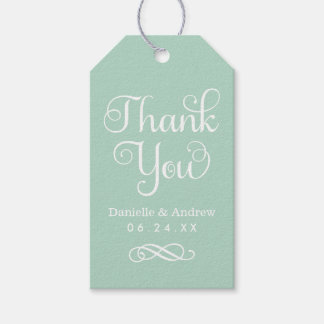 Wedding Favor Tags | Thank You Script in Mint