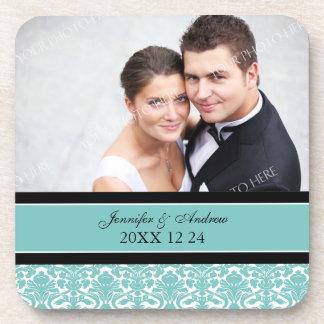 Wedding Favor Teal Damask Photo Coasters