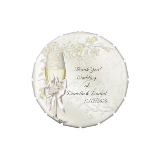 Wedding Favor Thank You Gold Cream Pearl Floral Jelly Belly Tin