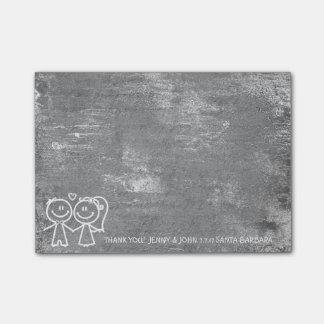 Wedding Favor Thank You Gray Distressed Silver Post-it® Notes