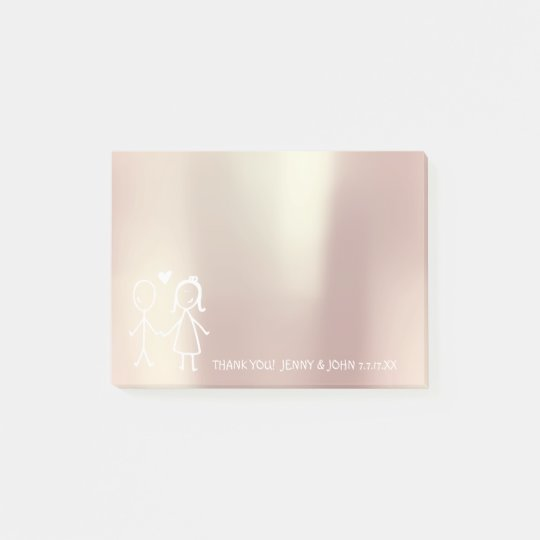Wedding Favor Thank You Metallic Rose Gold Bubbles Post-it Notes