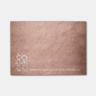 Wedding Favor Thank You Pink Rose Gold Powder Post-it Notes