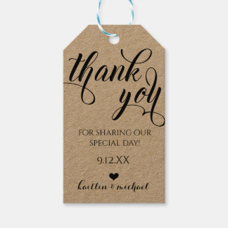 Wedding Favor Thank You Tag - Swirls Calligraphy