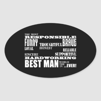 Wedding Favors Best & Greatest Best Men Qualities Oval Sticker