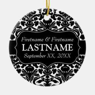 Wedding Favors - Black and White Damask Christmas Ornament