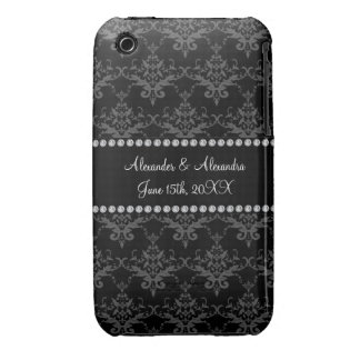 Wedding favors Black damask Case-Mate iPhone 3 Cases