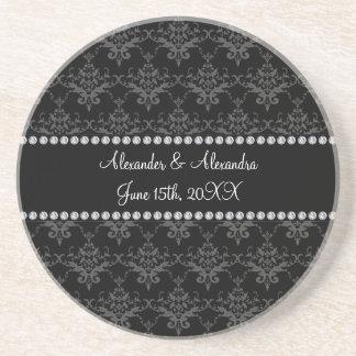 Wedding favors Black damask Coaster