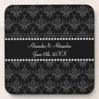Wedding favors Black damask Drink Coaster