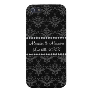Wedding favors Black damask iPhone 5 Covers