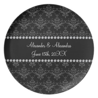 Wedding favors Black damask Plate