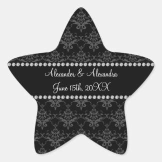 Wedding favors Black damask Star Stickers