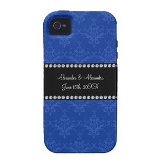 Wedding favors Blue damask iPhone 4/4S Cases