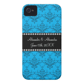 Wedding favors Blue damask iPhone 4 Case-Mate Case