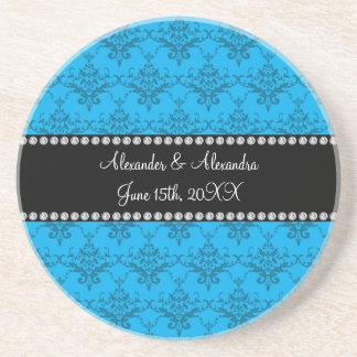 Wedding favors Blue damask Beverage Coaster