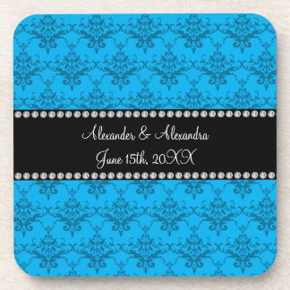Wedding favors Blue damask Drink Coasters