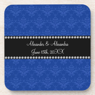 Wedding favors Blue damask Coasters