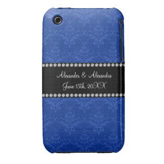 Wedding favors Blue damask iPhone 3 Case