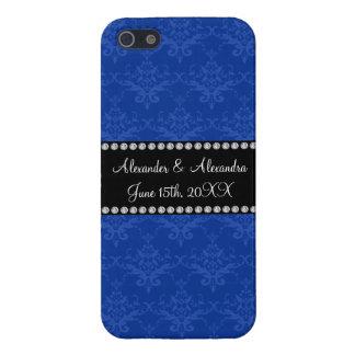 Wedding favors Blue damask iPhone 5 Cases