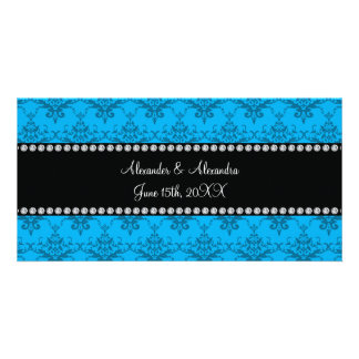 Wedding favors Blue damask Personalized Photo Card
