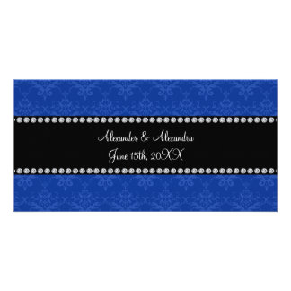 Wedding favors Blue damask Picture Card