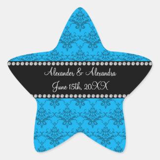 Wedding favors Blue damask Star Sticker