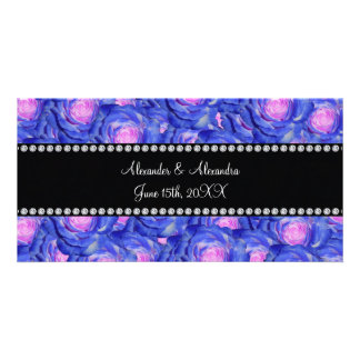 Wedding favors Blue roses Photo Cards