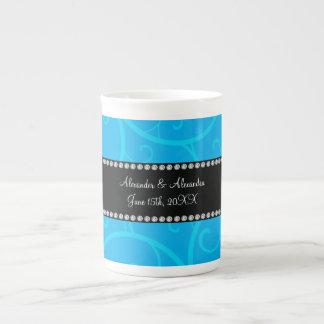 Wedding favors blue swirls bone china mugs