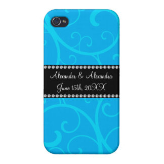 Wedding favors blue swirls iPhone 4/4S case