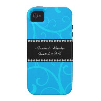 Wedding favors blue swirls iPhone 4 cover